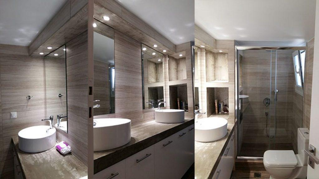 Ανακαίνιση μπάνιου με χτίστη ντουζιέρα