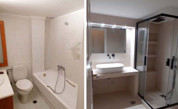 Ανακαίνιση Μπάνιου στο Ίλιον πριν και μετα